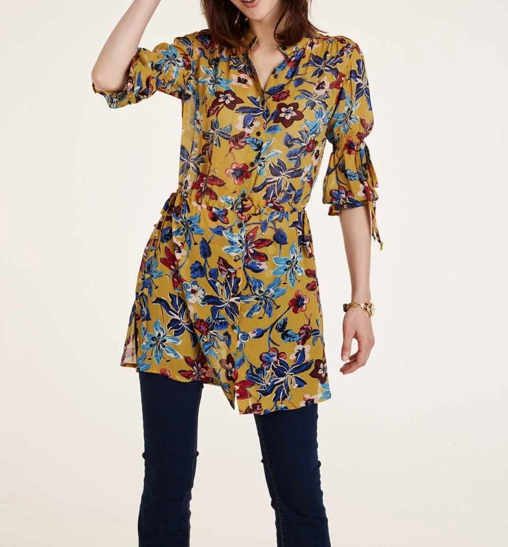 881.903 HEINE Damen Designer-Chiffon-Longbluse Bunt