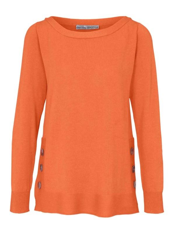 946.333 ASHLEY BROOKE Damen Designer-Pullover Orange Feinstrick m. Knöpfen