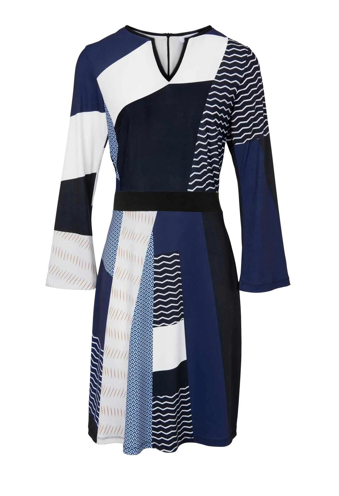 993.102 HEINE Damen Designer-Jerseykleid Marine-Ecru