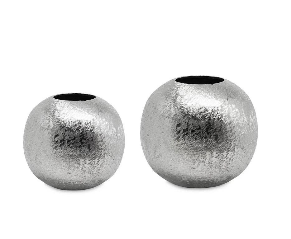 "7027 Moderne Dekovase Kugel Vase rund Blumen Silber Kugelvase ""Inga"" Aluminum"