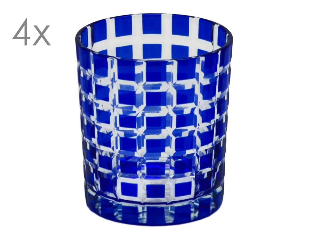8056 4er Set Kristallgläser Marco, blau, handgeschliffenes Glas