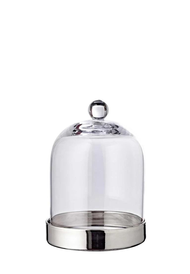 1249 Bonboniere Glasdose mit Deckel Juri, mundgeblasenes Kristallglas mit Platinrand, Höhe 21 cm