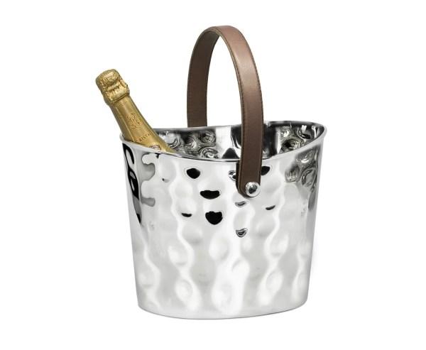 8457 Eiseimer Weinkühler Gilbert gehämmert, mit braunem Ledergriff, Edelstahl glänzend vernickelt,H 23 cm