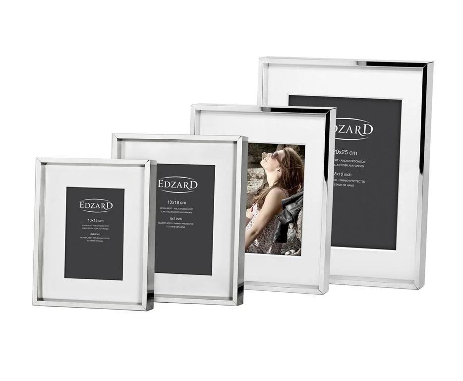 2500 Edzard Fotorahmen Bilderrahmen Foto 15 x 20 cm glänzend vernickelt Passepartout