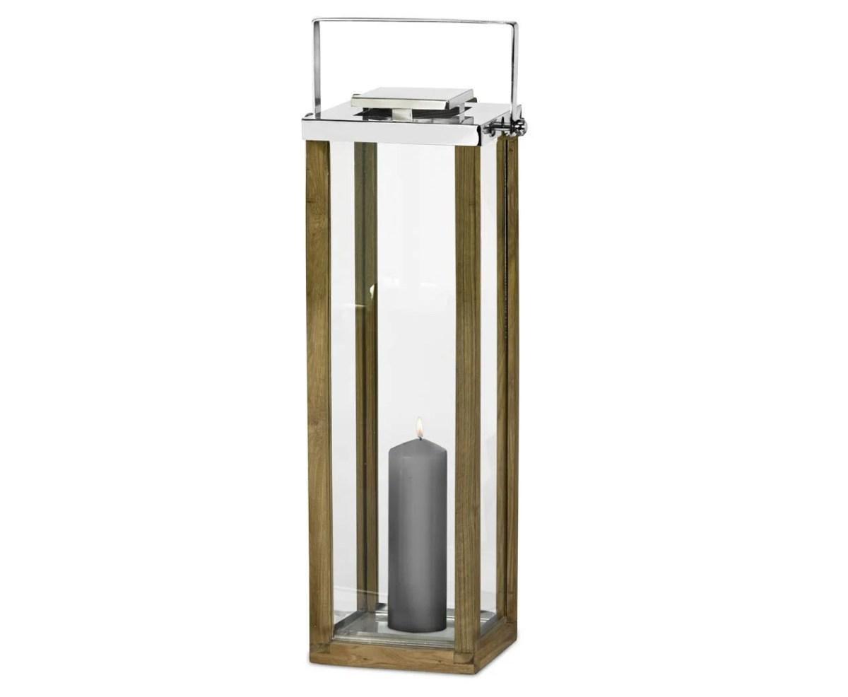 7444 Edzard Laterne Windlicht Groß Miami m. Griff Holz Glas Edelstahl Glänzend 72 cm