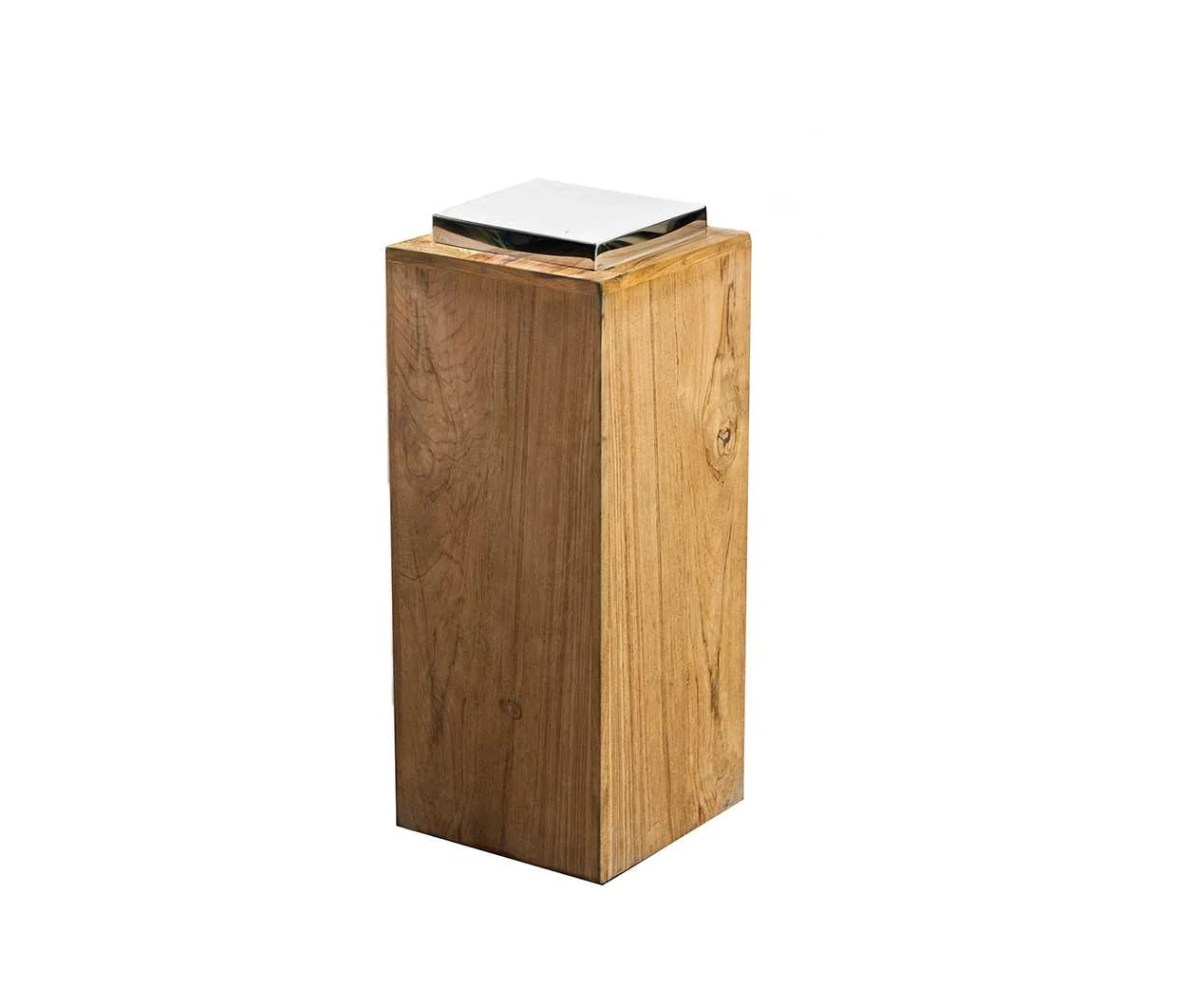 7458 Edzard Sockel für Laterne Dubai Teakholz und Edelstahl glänzend 51 cm, 6,1 kg