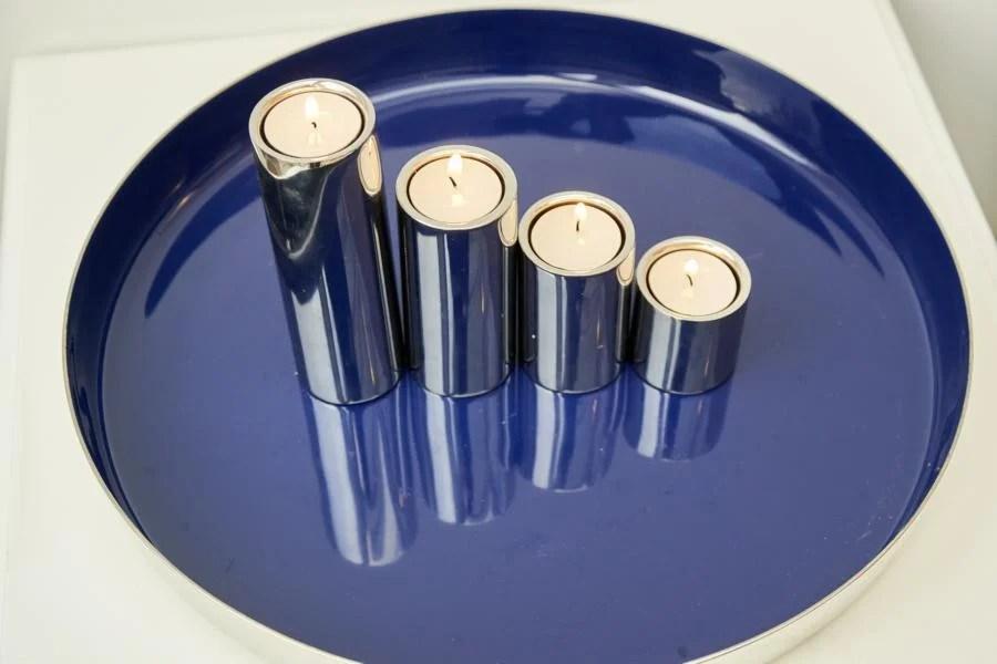 7153 Edzard Tablett Serviertablett Clemens, Aluminum innen blau lackiert 40 cm