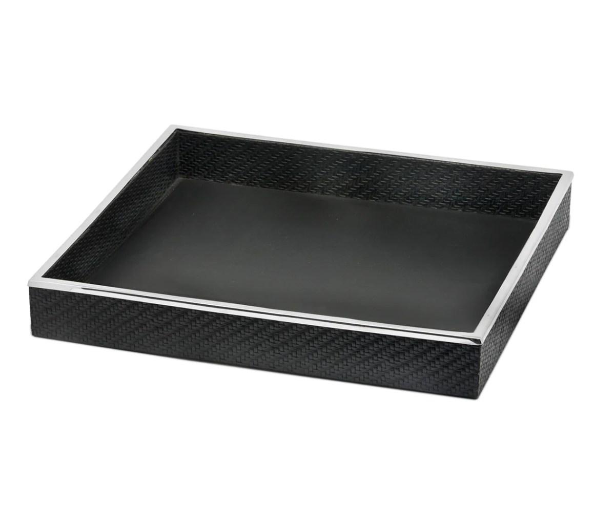 8486 Tablett Serviertablett Jackson, quadratisch, Stahl mit Kunstlederbezug, 42 x 42 cm