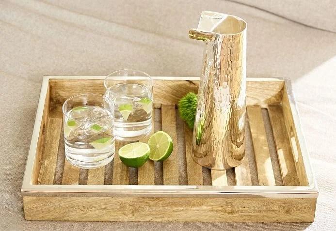 7647 Edzard Tablett Serviertablett Mango Holz mit Edelstahlrand rechteckig 45 x 33 cm