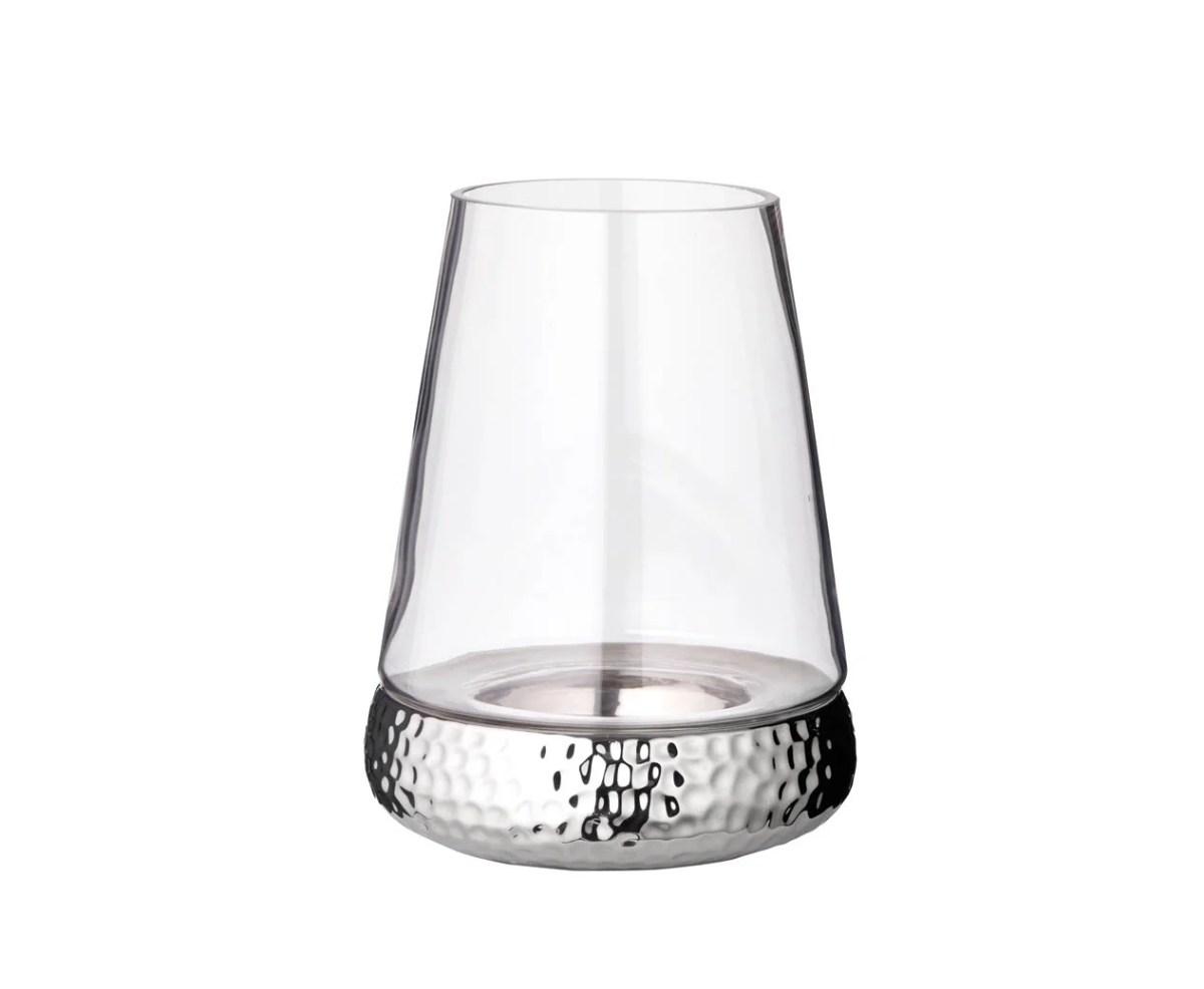 7056 Windlicht Kerzenglas Bora, Hammerschlag Optik, Glas und Keramik, Höhe 24 cm