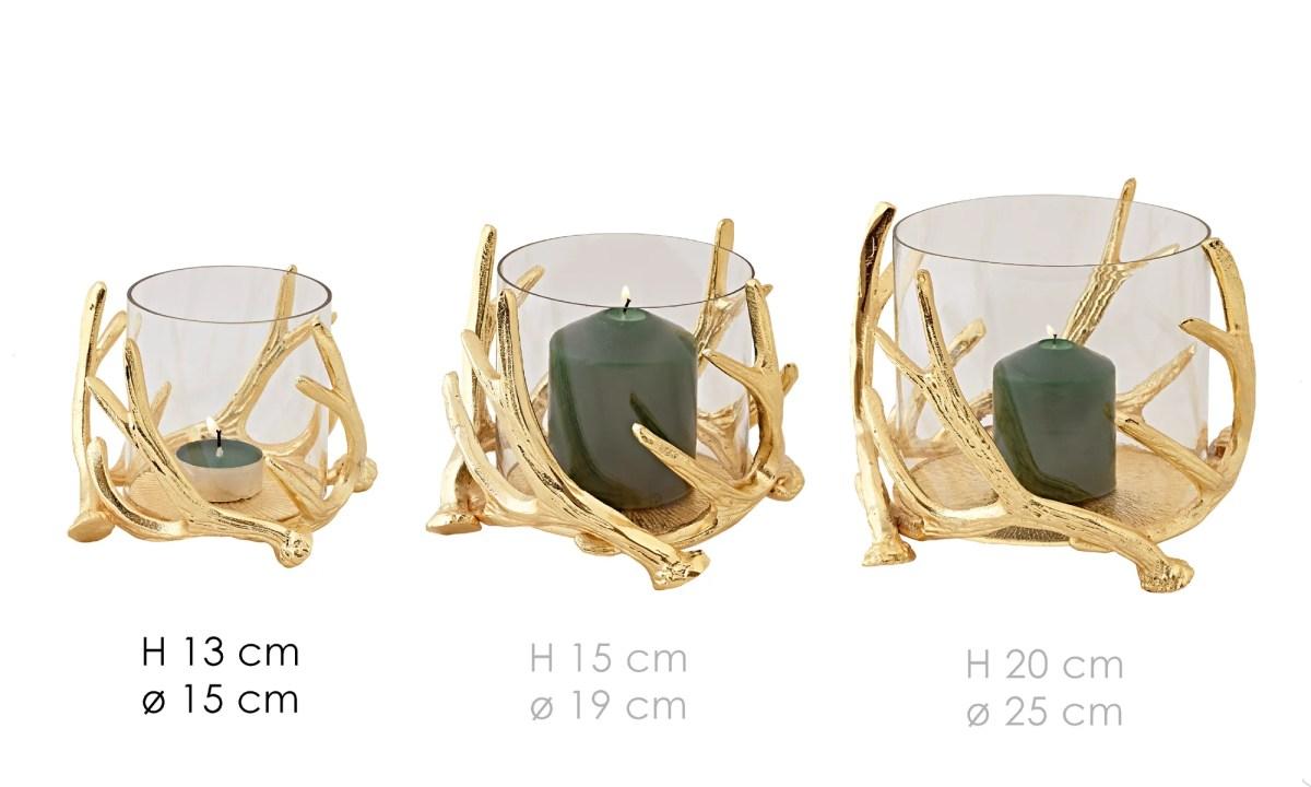 0546 Edzard Windlicht Glas Gold Deko Kingston Hirsch Geweih Kerzenhalter Höhe 13 cm