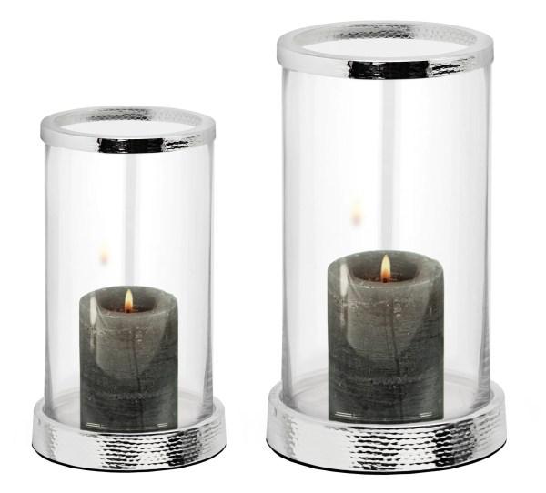 2845 Windlicht Sanremo gehämmert, edel versilbert, anlaufgeschützt, Höhe 26 cm, Durchmesser 16,5 cm