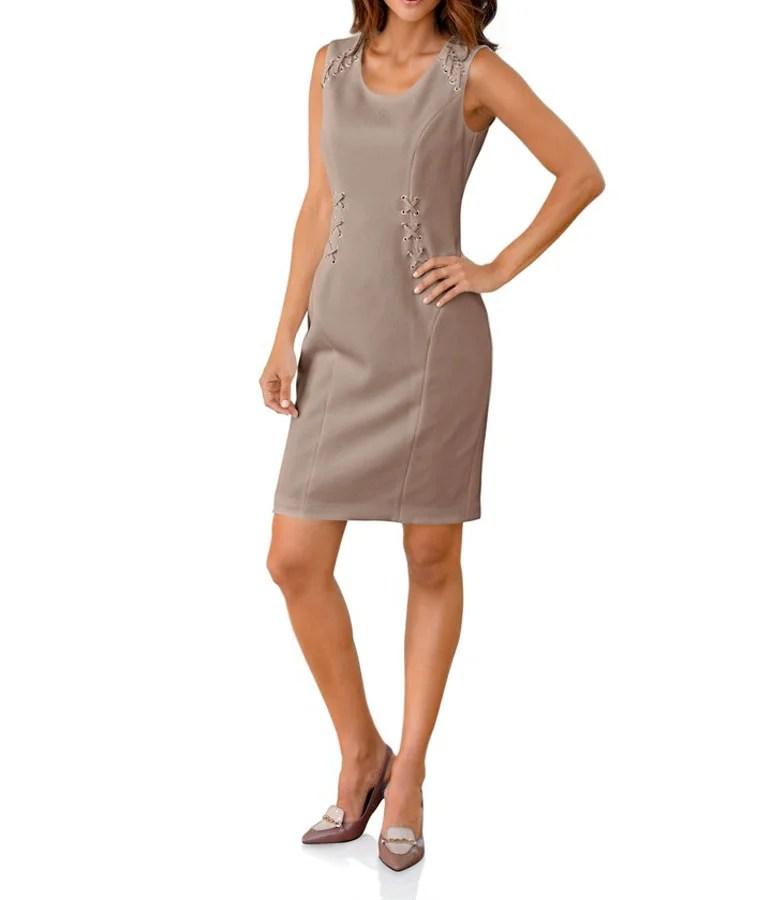002.432 ASHLEY BROOKE Damen Designer-Etuikleid Taupe