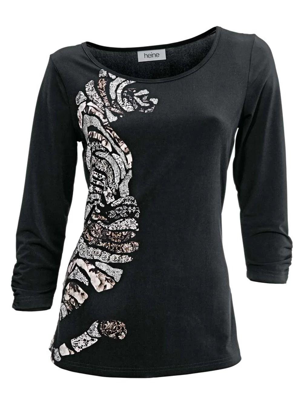 003.991 HEINE Damen Designer-Shirt m. Druck Schwarz