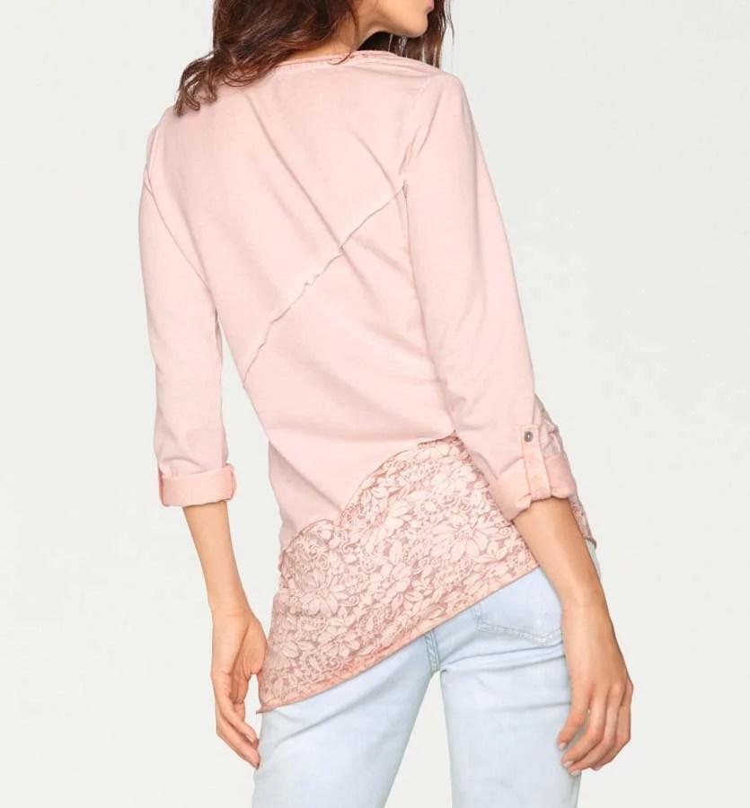 008.324 LINEA TESINI Damen Designer-Rundhalsshirt Rosé