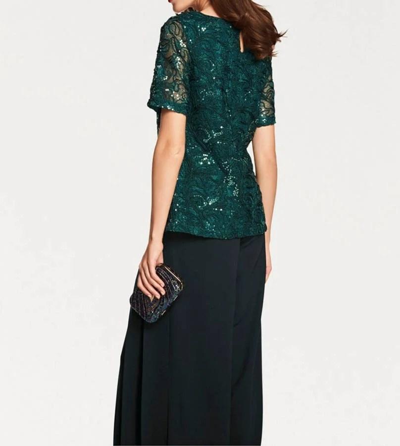 009.276 ASHLEY BROOKE Damen Designer-Spitzen-Paillettenshirt Smaragd