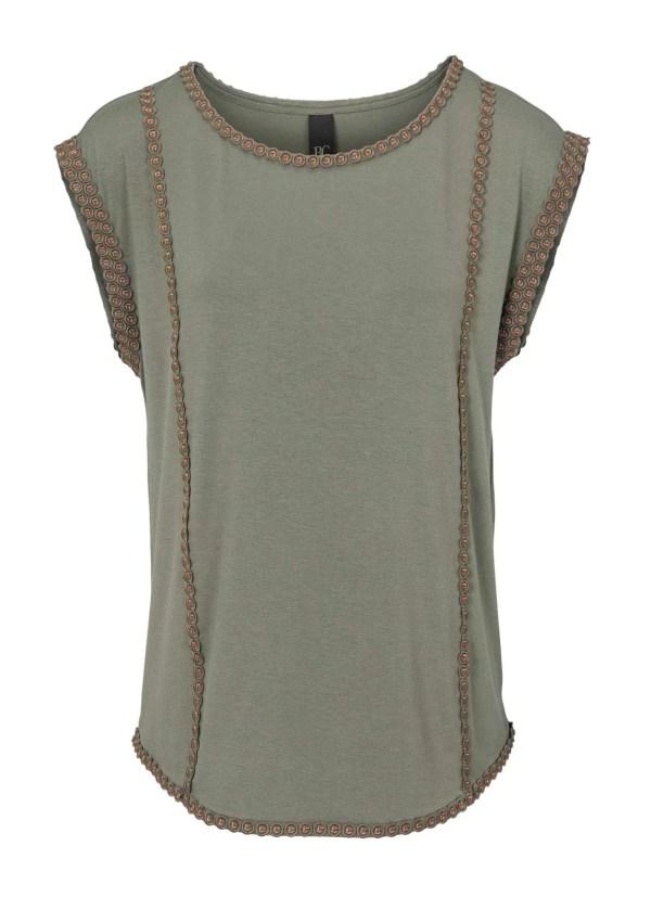 009.777 HEINE Damen Designer-Shirt m. Stickerei Olivgrün
