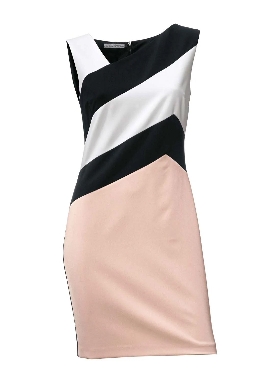 009.826 ASHLEY BROOKE Damen Designer-Etuikleid Ärmellos Rosé-Schwarz-weiß Streifen