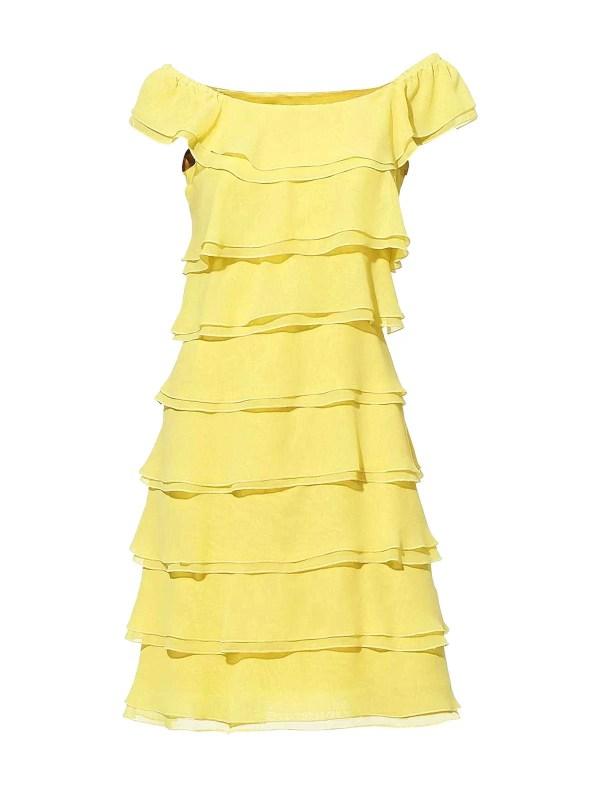 Luftige Kleider für Mollige 035.717 ASHLEY BROOKE Damen Designer-Volantkleid Gelb