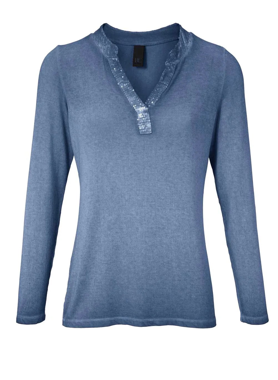 094.854 Jerseyshirt m. Pailletten, jeansblau-used von HEINE - Best Connections Grösse 42