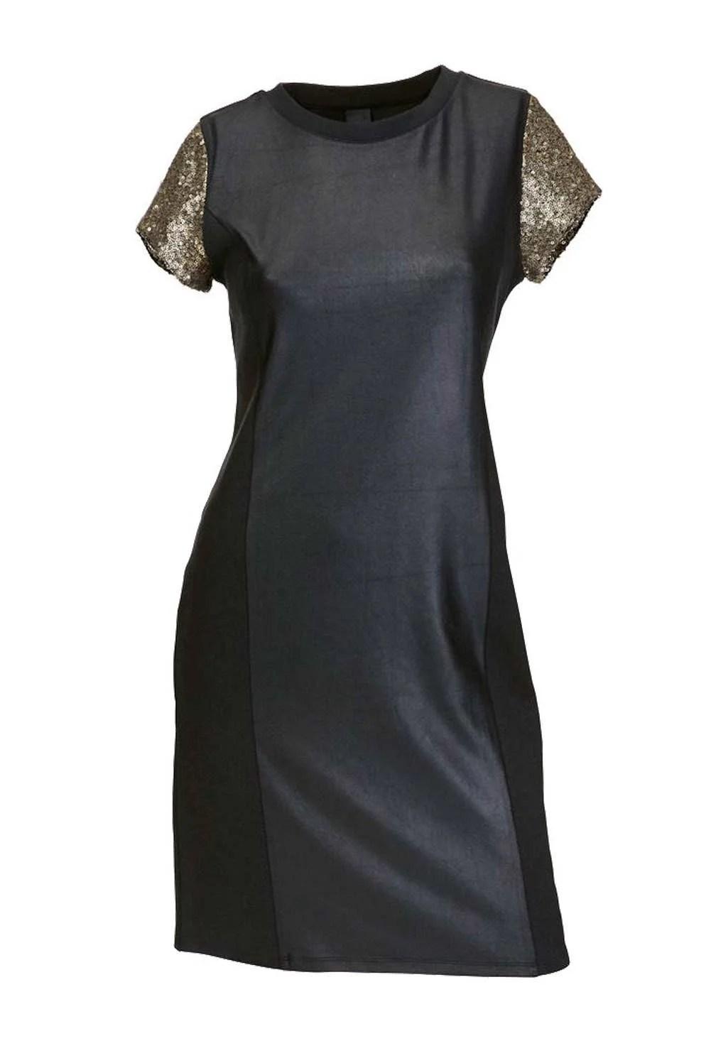 122.380 HEINE Damen Designer-Etuikleid m. Pailletten Schwarz-Gold
