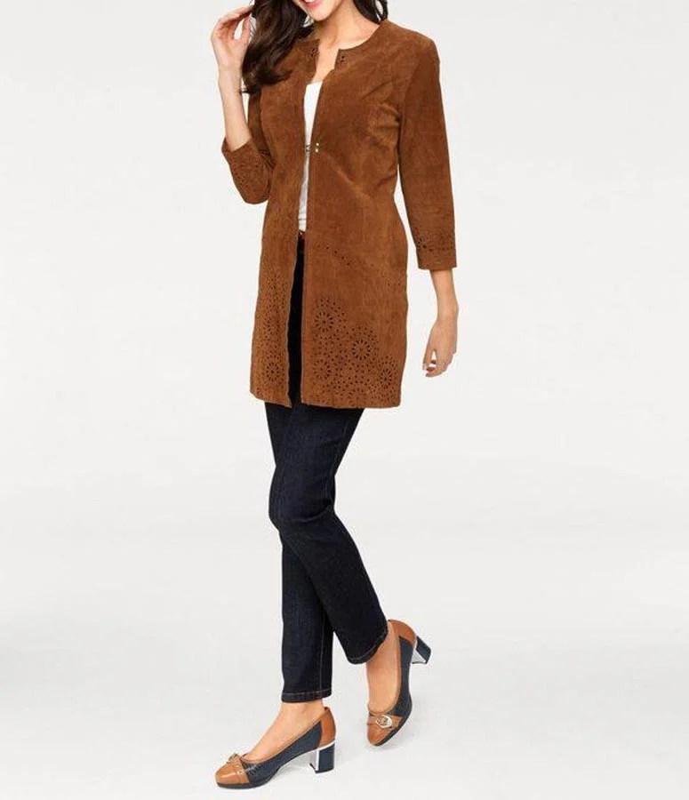 128.285 Ashley Brooke Damen Designer-Veloursledermantel Ledermantel Velours Braun