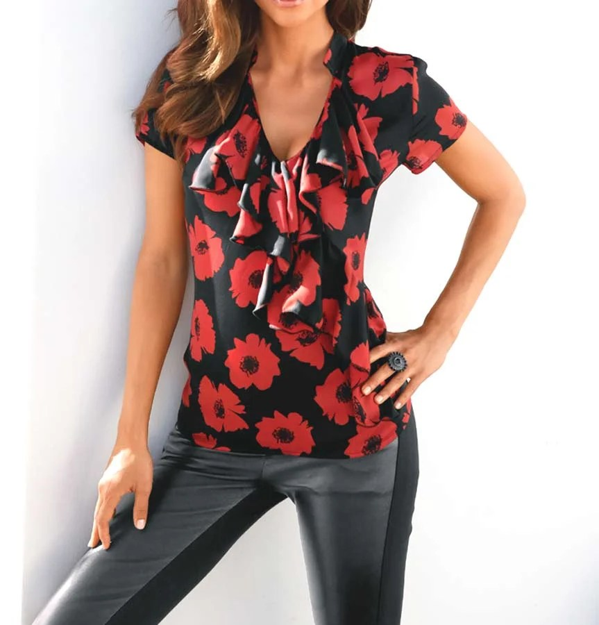 139.119 ASHLEY BROOKE Damen Designer-Druckshirt Rot-Schwarz