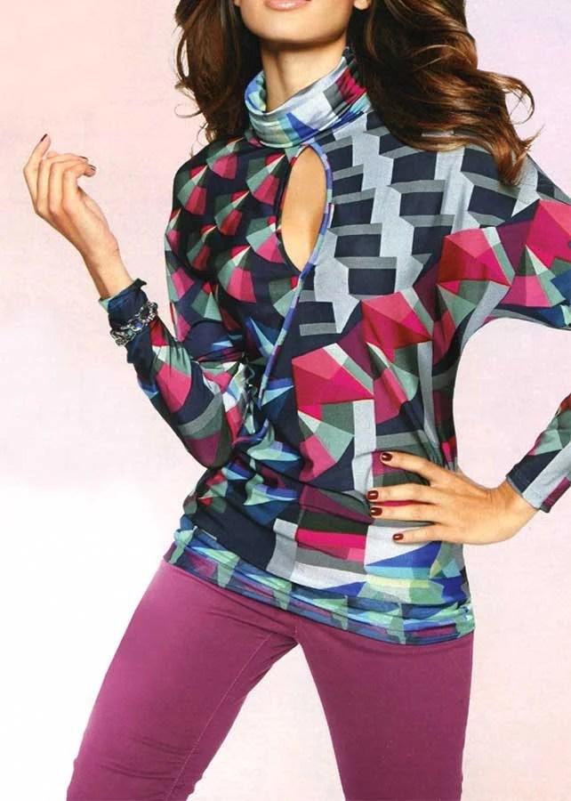 147.252 HEINE Damen Designer-Druckshirt Bunt