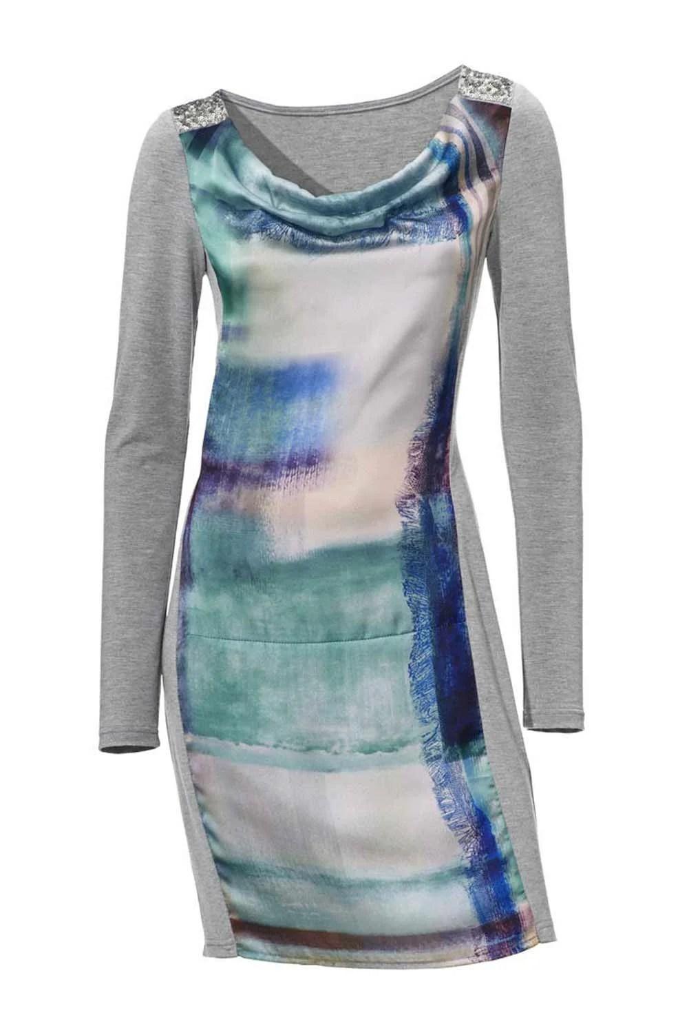 164.435 ASHLEY BROOKE Damen Designer-Kleid Grau-Jade