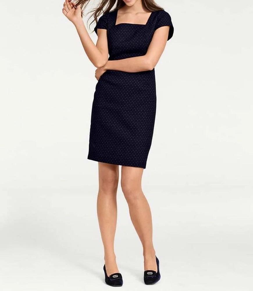 165.211 ASHLEY BROOKE Damen Designer-Etuikleid Bodyforming Mieder Punkte Marine-Cognac