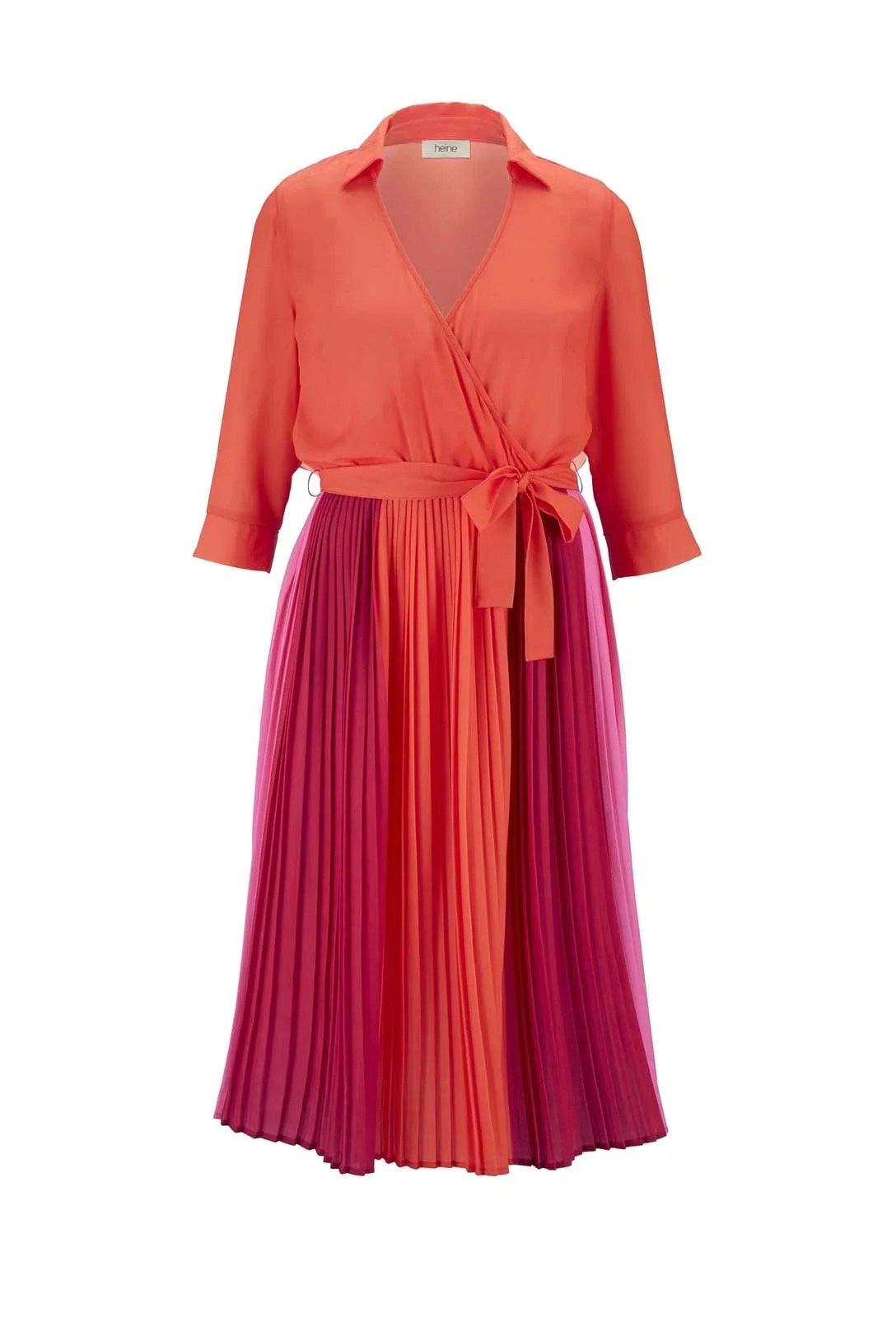 232.351 HEINE Damen Designer-Plisseekleid Orange-Pink