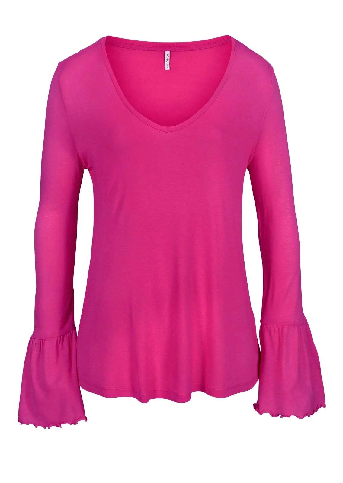 236.315 Shirt m. Volants, pink von ONLY Grösse S