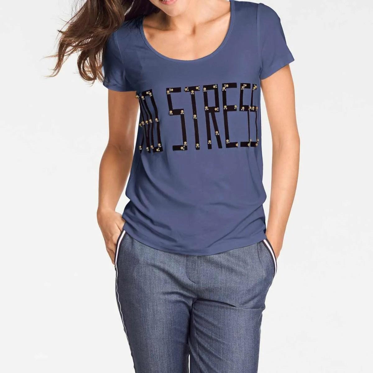430.481 PATRIZIA DINI Damen Designer-Shirt m. Perlen Jeansblau