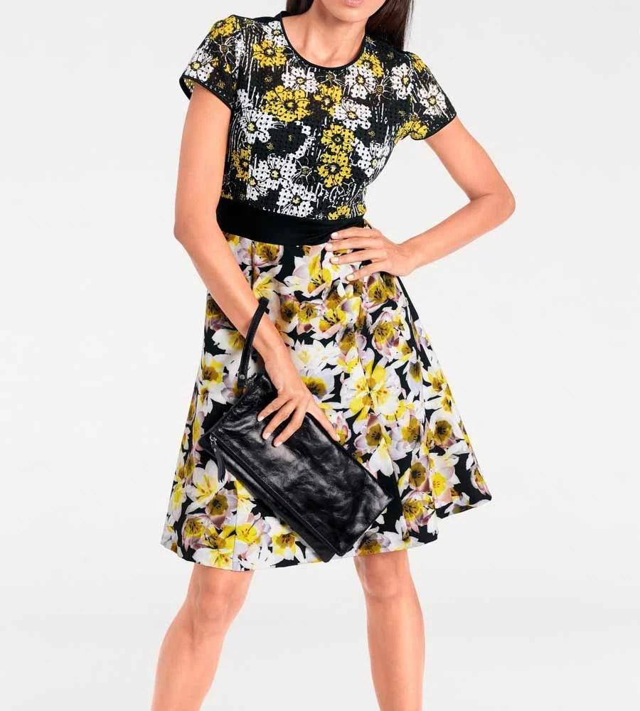 538.066 ASHLEY BROOKE Damen Designer-Prinzesskleid Schwarz-Gelb