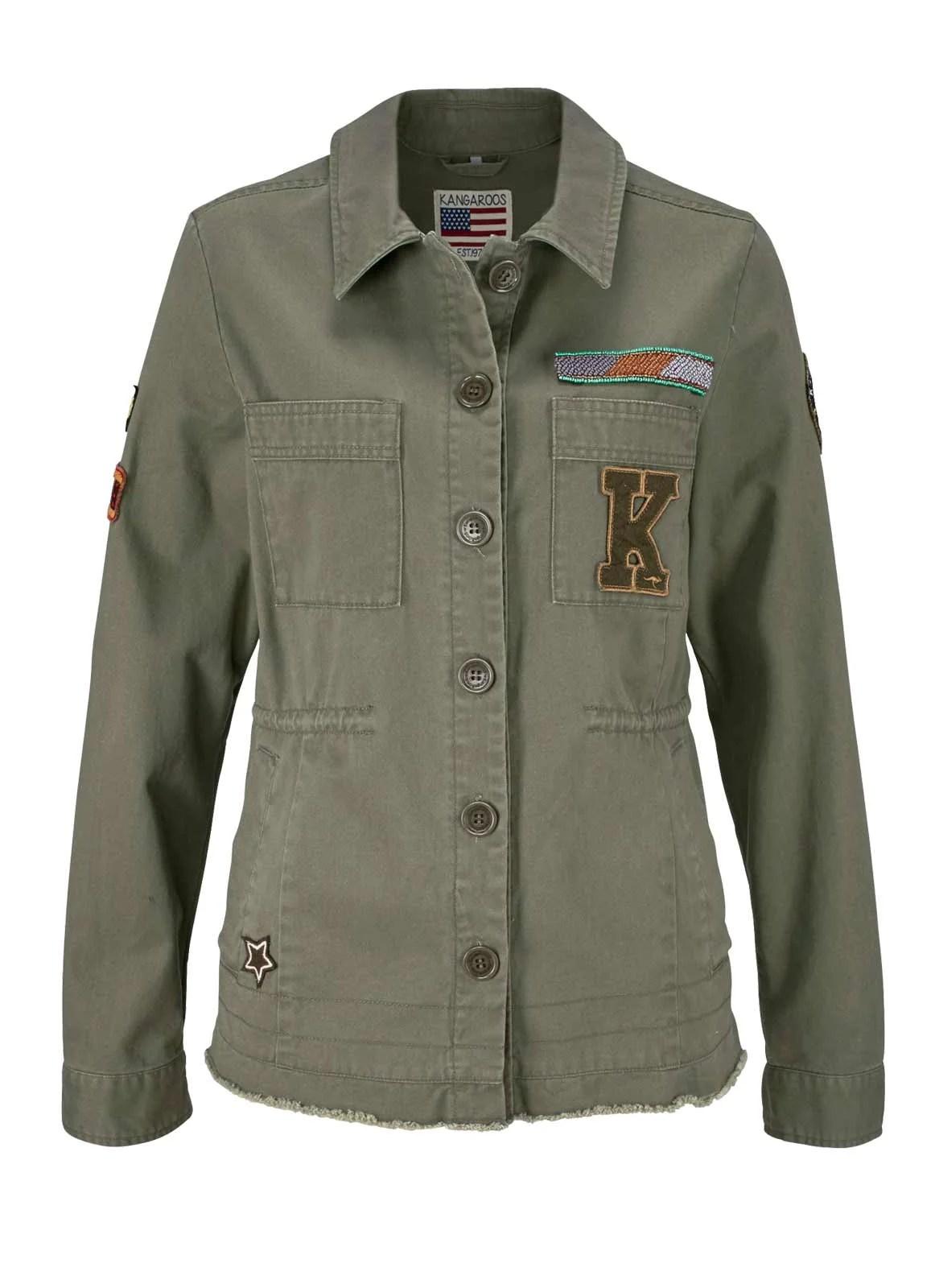 632.057 KangaROOS Damen-Jacke Military-Style-Jacke, oliv