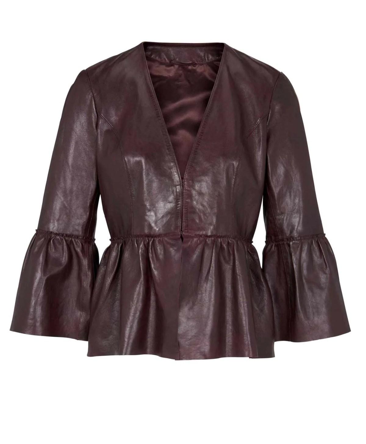 753.830 HEINE Damen Designer-Lammnappalederjacke m. Volants Bordeaux
