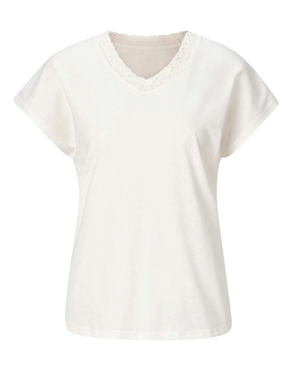 772.308 Jerseyshirt m. Spitze, wollweiß von Fair Lady Grösse 50