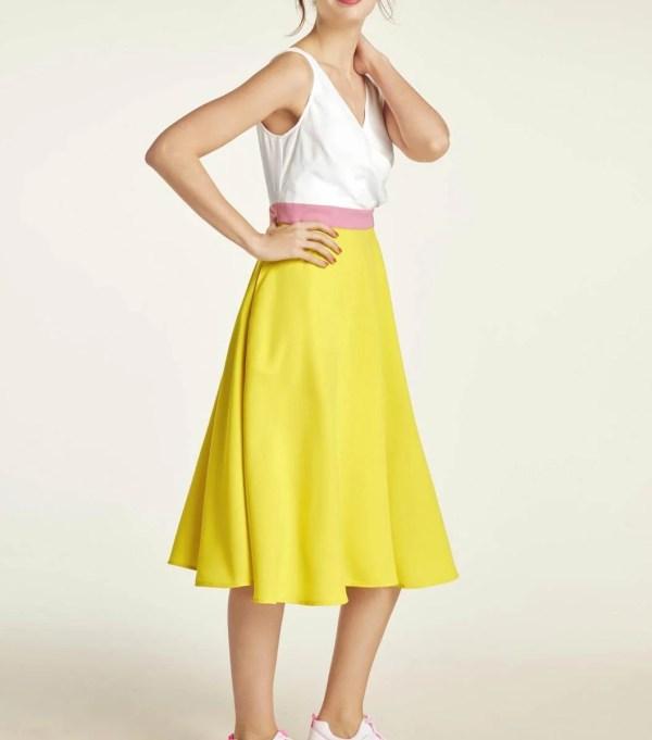 791.839 HEINE Damen Designer-Chiffonkleid Gelb-Offwhite