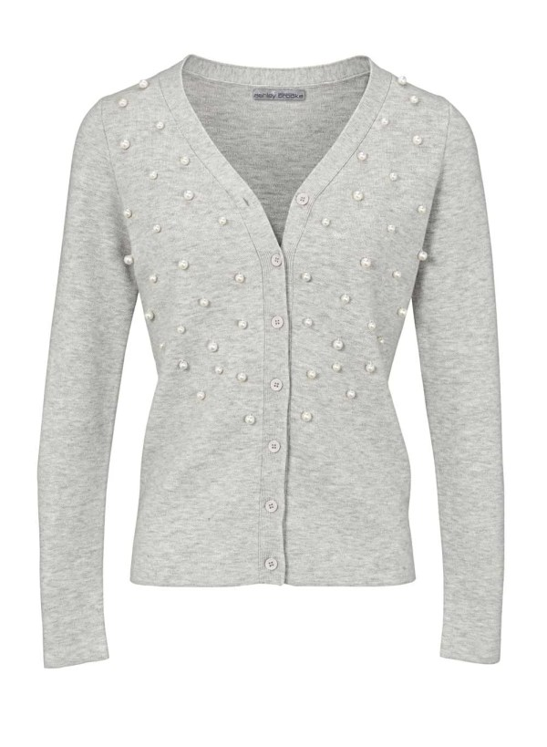 843.842 ASHLEY BROOKE Damen Designer-Strickjacke m. Perlen Grau-Melange