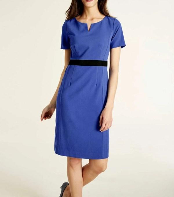 967.607 ASHLEY BROOKE Damen Designer-Etuikleid Azurblau Bürokleid Businesskleid Blau