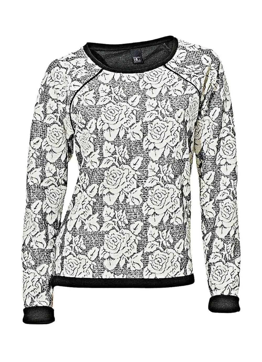 082.762 HEINE Damen Designer-Sweatshirt Ecru-Anthrazit