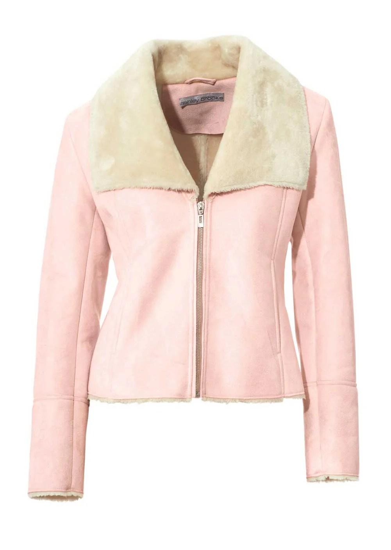 179.820 ASHLEY BROOKE Damen Designer-Jacke Lammfell Look Lederimitat Webpelz Rosa-Creme