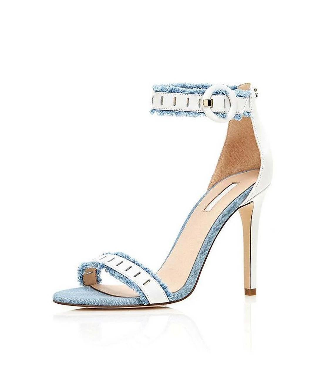182.686a GUESS Damen Marken-Sandalette Weiß-Hellblau