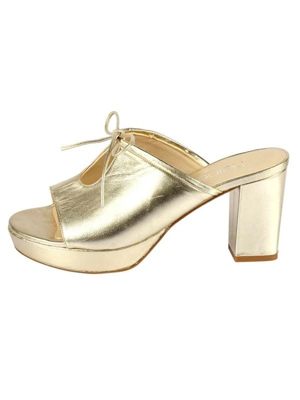 261.355 HEINE Damen Designer-Leder-Pantolette Goldfarben