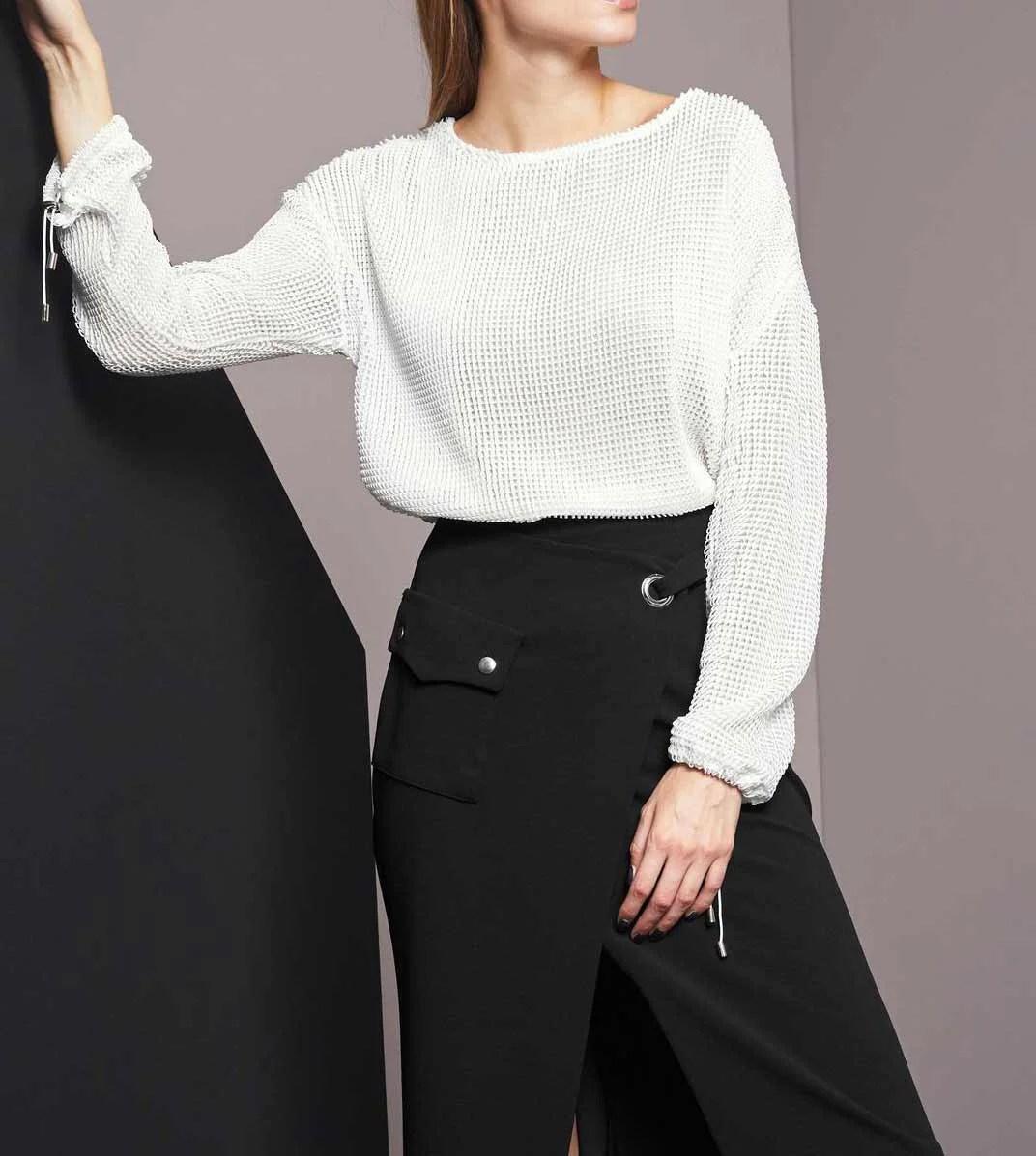 468.831 RICK CARDONA Damen Designer-Netz-Sweatshirt Weiß