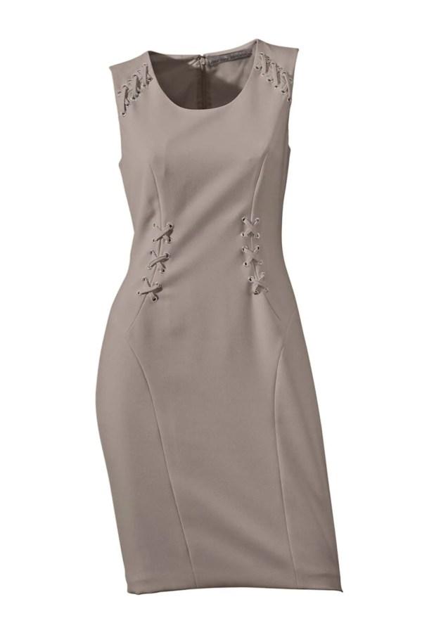 business kleider für damen ASHLEY BROOKE Damen Designer-Etuikleid Taupe 002.432 Missforty