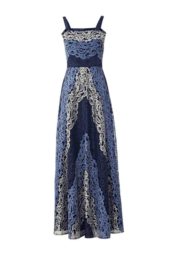 Festmoden ASHLEY BROOKE Damen Designer-Spitzenabendkleid Blautöne 044.367 Missforty