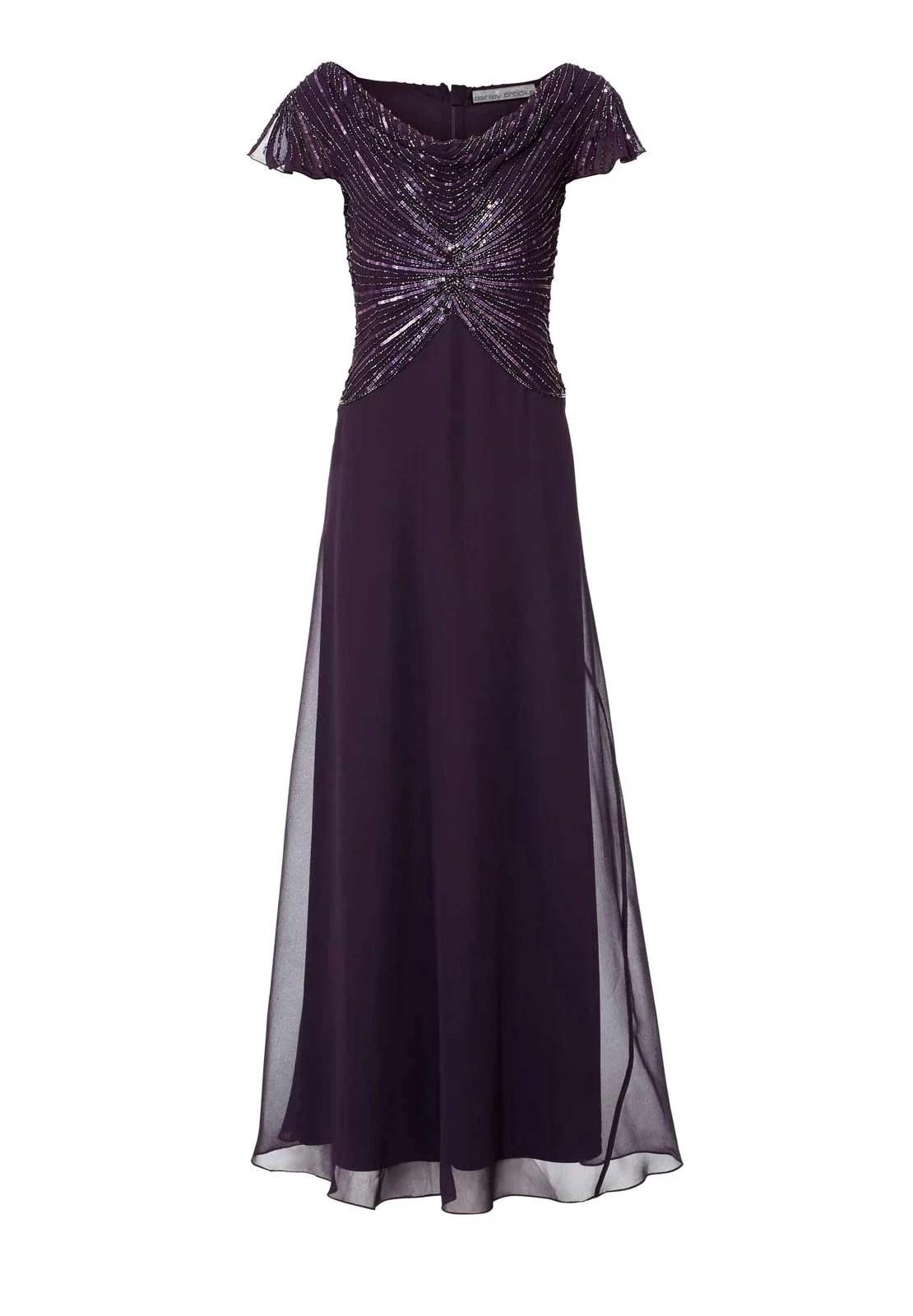 Festmoden ASHLEY BROOKE Damen Designer-Abendkleid m. Perlen Pflaume 051.773 Missforty