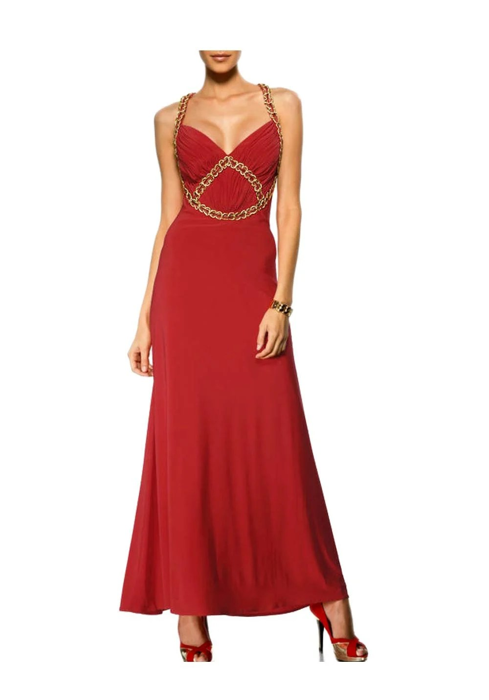 Festmoden HEINE Damen Designer-Abendkleid Rot-Gold 082.899 Missforty