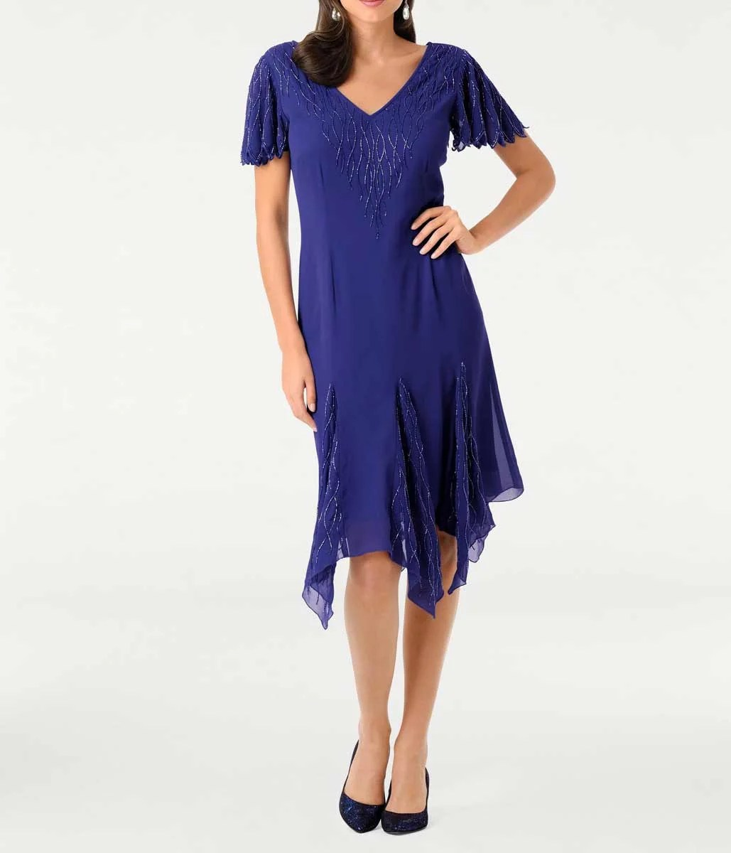 kurzes kleid für besondere anlässe ASHLEY BROOKE Damen Designer-Cocktailkleid m. Perlen Blau 085.143 Missforty